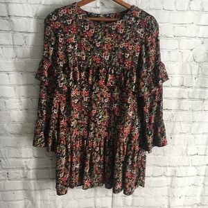 Zara Trafaluc Collection black floral tiered dress